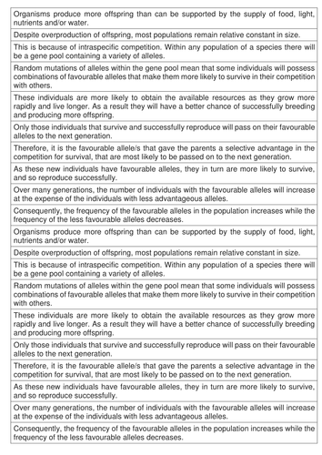 AQA AS & A-level Biology (2016 specification). Section 4 Topic 9: Genetic diversity 3 Adaptation