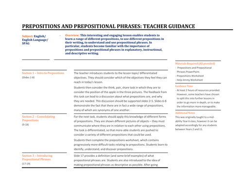 Prepositions and Prepositional Phrases by TandLGuru Teaching – Prepositions and Prepositional Phrases Worksheets