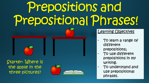 Prepositions and Prepositional Phrases!