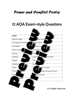 Power and Conflict Poetry Exam Questions by