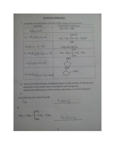 Alcohol Worksheet With Answers By Kunletosin246 Teaching Resources