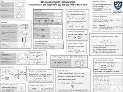 ks4 gcse maths formulae sheets for higher foundation by jambotalbot teaching resources. Black Bedroom Furniture Sets. Home Design Ideas