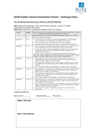 Edexcel IGCSE English Literature Assessment Feedback Sheets