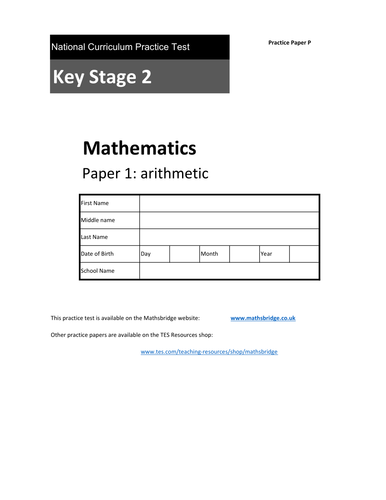 KS2 SATS Arithmetic Practice Papers x 3 (N,O,P)