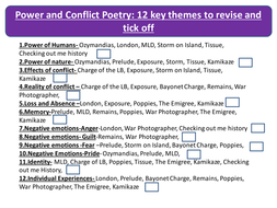 Conflict Poetry Anthology Revision Guide by Theme