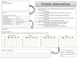 Protein alternatives tast testing worksheet - sensory analysis GCSE Food  preparation and nutrition