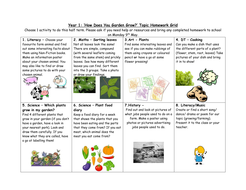 Year 1 Growing and Farming Topic Homework Grid