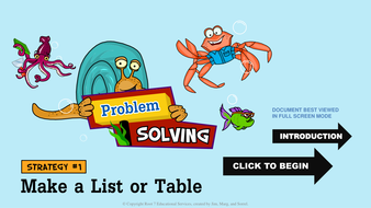 Math Problem Solving Strategies - Make a List or Table