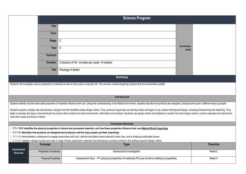 Science: Materials - Program / Unit of Work