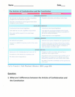 Articles of Confederation vs. Constitution Worksheet by Linni0011 ...
