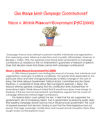Can States Limit Campaign Contributions?  Nixon v. Shrink Missouri Government PAC {2000)