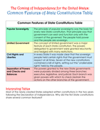 Coming of Independence for the United States: Common Features of State Constitutions Table