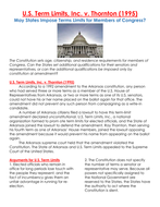 U.S. Term Limits, Inc. v. Thornton (1995) May States Impose Terms Limits for Members of Congress?