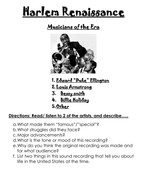 1920's The Harlem Renaissance- Musicians of the Era Mini-lesson