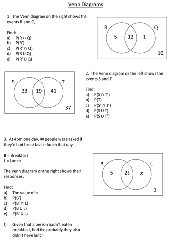 Probability With Venn Diagrams Resources Tes