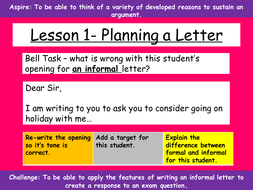 Writing Informal Letters for Transactional Writing