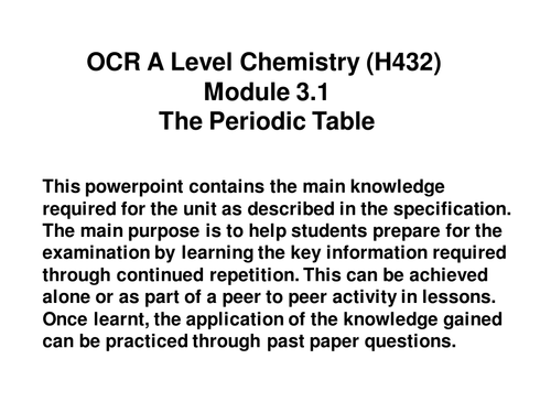 Ocr a level chemistry h432 module 31 the periodic table ocr a level chemistry h432 module 31 the periodic table powerpoint by sjriches teaching resources tes urtaz Images