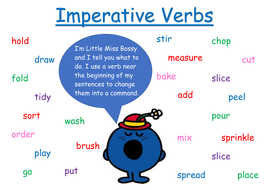 Imperative verbs word mat