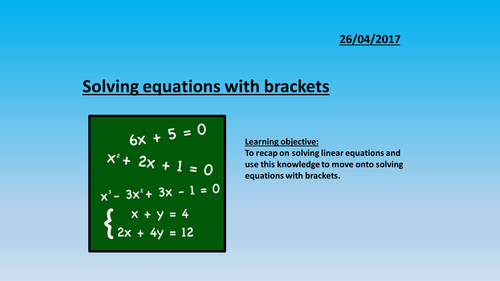 Solving Linear Equations Resources | Tes