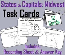States and Capitals: Midwest Region Task Cards