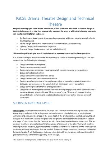 IGCSE/GCSE Drama Technical Theatre Revision Booklet