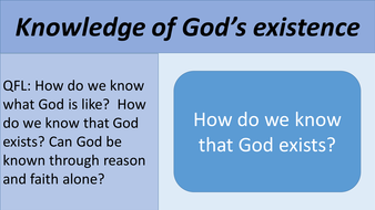 OCR NEW AS (Developments in Christian Thought) Knowledge of the existence of God lessons