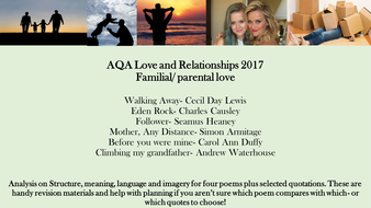 AQA 2017 love and relationships poetry family parental familial love  cluster comparison revision