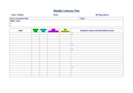 Blank weekly Literacy plan