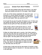 Division Facts Word Problems