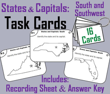 States and Capitals Task Cards: South and Southwest Region