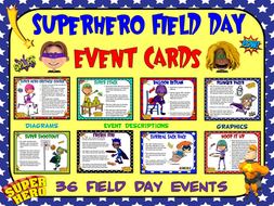 Superhero Field Day- 36 Superhero-Themed Field Day Event Cards