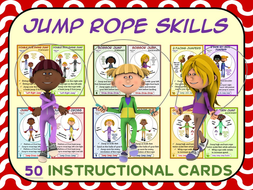 PE Jump Rope Skills (Individual)- 50 Instructional Cards