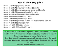 An 11 question quiz on A level chemistry (year 1 content only)