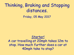 Thinking, braking and stopping distance