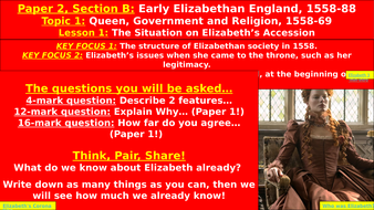 Edexcel Elizabethan England, Topic 1: Queen, Government & Religion - Lesson 1, Elizabeth's Accession