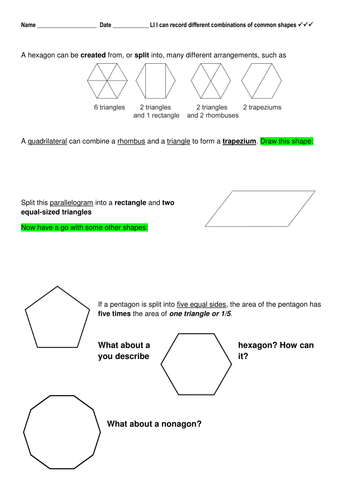 2D Shapes - Shapes in Shapes, Fraction within Shapes