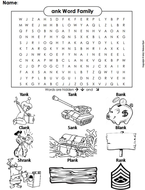ank Word Family Word Search