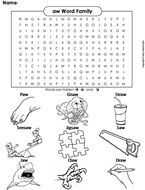 aw Word Family Word Search