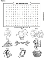 ice Word Family Word Search