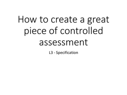 GCSE Food controlled assessment - Specification: Student templates and guidance