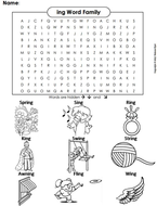 ing Word Family Word Search