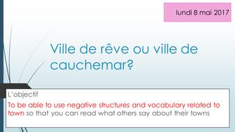Ville de reve ou ville de cauchemar Studio Higher and Foundation new French GCSE AQA