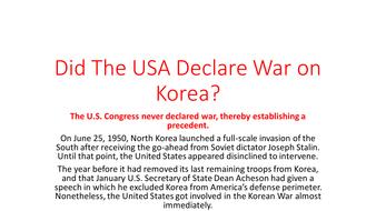 Korean War and USA'S Invvolvement