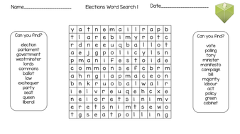 The General Election Wordsearch and Anagram Worksheets by
