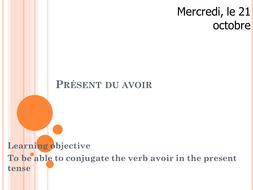 Avoir present tense - year 7 - introducing conjugations