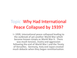 Events that led to the collapse of international peace by 1939