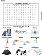 Force and Motion Word Search
