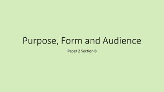 GCSE Englsih Language P2SB Revision: Purpose, Form and Audience