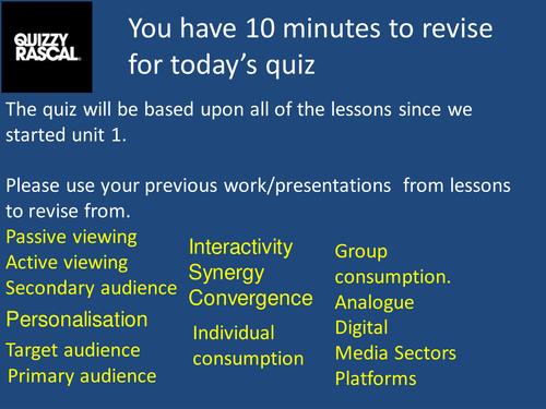 Revision Media Studies BTEC/GCSE.