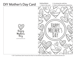 Mothers Day Printable Coloring Cards Pack Printable PDF - Mothers day card templates
